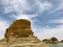 Ландшафт парка Yardan национального геологохимического, Цинхая, Китая Yardang было создано с течением времени мягкой частью земли стоковые изображения rf