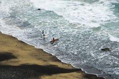 Ландшафт пляжа с серферами стоковая фотография rf
