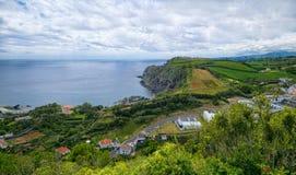 Ландшафт побережья острова Мигеля Sao, Азорских островов, Португалии Стоковое Изображение RF