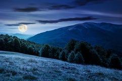 Ландшафт прикарпатских гор на ноче Стоковое Изображение