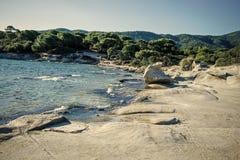 Ландшафт природы на солнечный летний день изолированная принципиальной схемой белизна природы Скалистый пляж помыл волнами, морем Стоковые Изображения RF