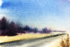 Ландшафт при серая дорога, повернутая к горизонту, желтым полям и v иллюстрация штока