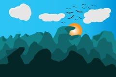 Ландшафт птиц солнца гор Иллюстрация вектора и EPS10 Стоковые Фото