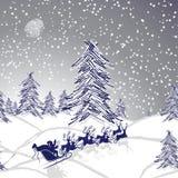 Ландшафт рождества зимы Стоковые Фотографии RF