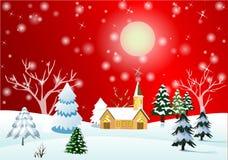 Ландшафт рождества или ландшафт зимы иллюстрация вектора
