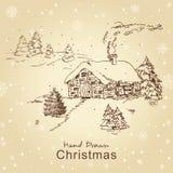 ландшафт рождества карточки иллюстрация штока