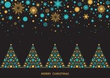 Ландшафт рождества с деревьями и снежинками Xmas Стоковое Изображение RF