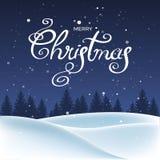 Ландшафт рождества с снегом и деревьями Стоковые Фотографии RF