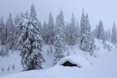 Ландшафт со старыми деревянными хижинами На лужайке покрытой со снегом славные деревья стоят политыми со снежинками в морозной зи стоковые изображения rf