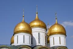 Ландшафт с взглядом на куполах соборов Москвы Кремля стоковая фотография