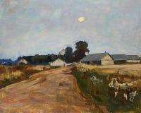 Ландшафт с восходом луны над проселочной дорогой и деревней стоковое фото