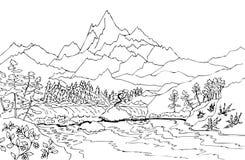 Ландшафт с высокими горами и водопадом стоковая фотография rf