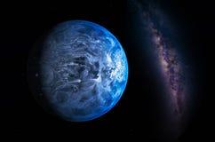 Ландшафт с галактикой млечного пути Взгляд земли от космоса с молоком стоковая фотография rf