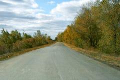 Ландшафт с дорогой на осени стоковые изображения rf