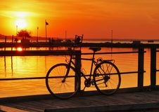 Ландшафт с золотым заходом солнца Стоковое Фото