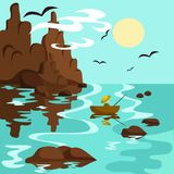 Ландшафт с морем, горами и рыболовом в шлюпке иллюстрация вектора