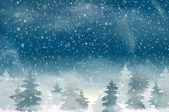 Ландшафт с падая снегом рождества, coniferous ландшафт рождества зимы праздника леса для с Рождеством Христовым и счастливой ново Стоковое Изображение