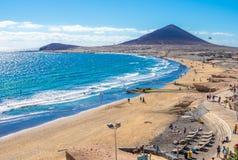 Ландшафт с пляжем El Medano стоковые фото