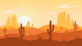 Ландшафт с пустыней и кактусом Стоковые Изображения