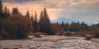 Ландшафт с рекой и горой стоковые изображения