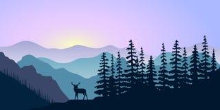 Ландшафт с силуэтами оленей, оленей гор и леса на восходе солнца также вектор иллюстрации притяжки corel иллюстрация штока