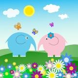 Ландшафт с слонами и бабочками бесплатная иллюстрация