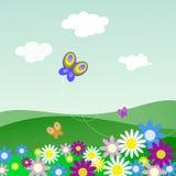 Ландшафт с цветками и бабочками иллюстрация вектора