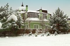 Ландшафт с snowbanks белых снега и сосен в саде страны стоковая фотография rf