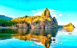 Ландшафт утесов и голубого неба на озере гор иллюстрация вектора