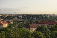 Ландшафт утра Праги Огромное число деревьев домов тайника частично прописной взгляд prague Стоковые Изображения RF