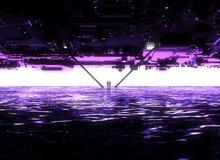 Ландшафт фантазии, борозда, темнота, свет, солнце, люди в backlight в ландшафте научной фантастики, большом светлом портале, лест иллюстрация штока