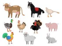 ландшафт фермы животных лето много sheeeps иллюстрация штока