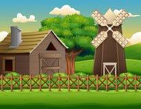 Ландшафт фермы с сараем и ветрянкой иллюстрация вектора