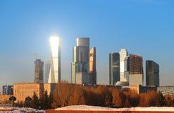 Ландшафт фото города Москвы на заходе солнца Стоковая Фотография