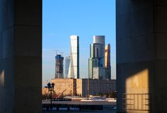 Ландшафт фото города Москвы на заходе солнца Стоковые Фото