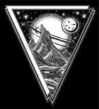 Ландшафт чужеземца фантазии, иллюстрация космоса вектора иллюстрация штока