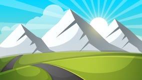 Ландшафт шаржа Гора, небо, луч, дорога, иллюстрация перемещения иллюстрация вектора