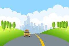 Ландшафт шаржа с автомобилем перемещения едет на дороге лета бесплатная иллюстрация