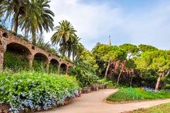 Ландшафт Guell парка, Барселона, Испания стоковые изображения rf