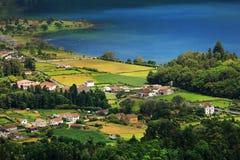 Ландшафт Sete Cidades в красивом солнечном дне Стоковое Изображение