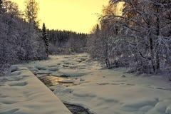 Ландшафт Snowy и замороженное река стоковое изображение