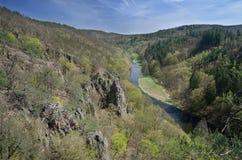 Ландшафт Spring Valley с рекой, скалами утеса и лесами стоковое изображение rf
