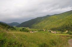 Ландшафт Tatra гор с зеленым лесом, голубыми облаками и лугом Стоковое Изображение RF