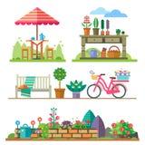 Ландшафты, лето и весна сада Стоковое Фото