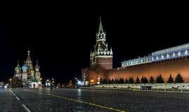 Ландшафты ночи Москвы, России, Кремля Стоковые Изображения