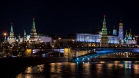Ландшафты ночи Москвы, России, Кремля Стоковое Фото