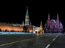 Ландшафты ночи Москвы, России, Кремля Стоковое Изображение RF