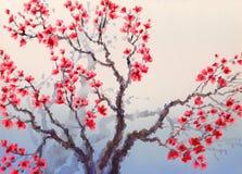 Ландшафт акварели в китайском стиле Красное цветене цветков на иллюстрация вектора