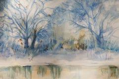 Ландшафт акварели - сцены зимы стоковые фотографии rf