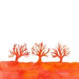 Ландшафт акварели с деревьями Граница с силуэтом деревьев Стоковые Изображения